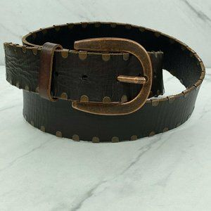 Fossil Studded Leather Brown Bronze Belt Medium